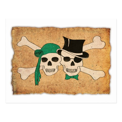 pirate woman and man postcards