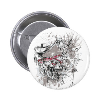 pirated dead skull vintage design 2 inch round button