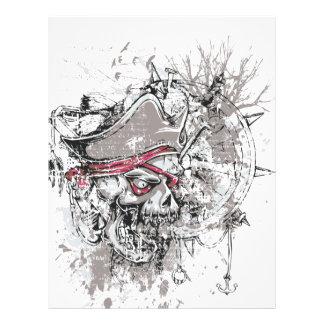 pirated dead skull vintage design letterhead