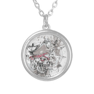 pirated dead skull vintage design silver plated necklace