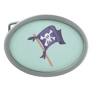 Piratenfahne pirate flag oval belt buckle