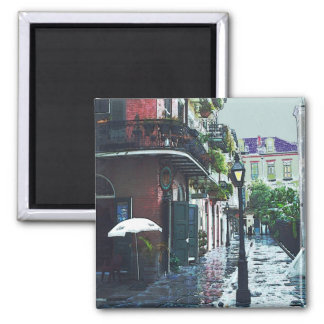 Pirates Alley In The Rain Square Magnet