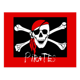 Pirates - Black and Red Pirate Skull Postcard