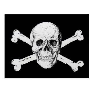 Pirates Black Skull and Crossbones Postcard