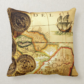 Pirates Gold Treasure Map Throw Pillow