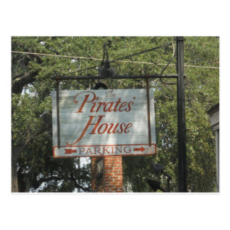Pirates' House Restaurant Sign Savannah Georgia Postcard