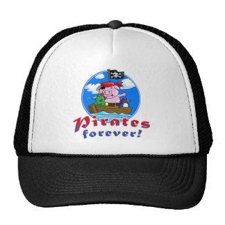 pirates more forver, comic pig, penguin, frog trucker hat