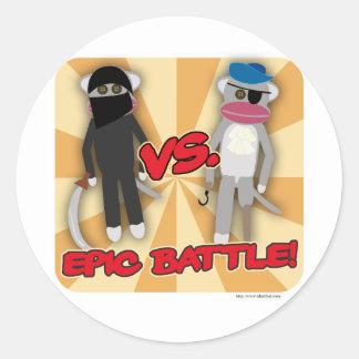 Pirates Vs. Ninja Monkeys Round Sticker
