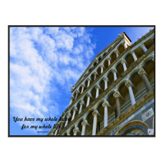 Pisa Cathedral with Love Quote Postcard