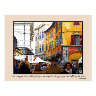 Pisa Market In Alley with Love Quote Postcard