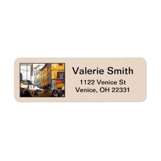 Pisa Market In Alley with Love Quote Return Address Label