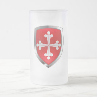 Pisa Mettalic Emblem Frosted Glass Beer Mug