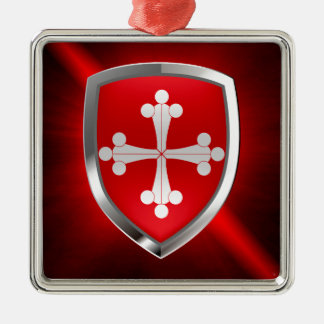 Pisa Mettalic Emblem Silver-Colored Square Ornament