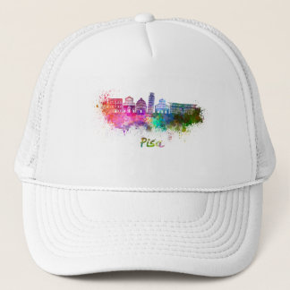 Pisa skyline in watercolor trucker hat
