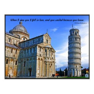 Pisa The Leaning Tower with Love Quote Postcard