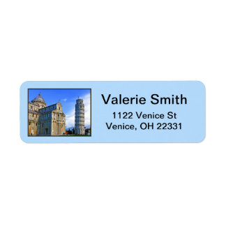 Pisa The Leaning Tower with Love Quote Return Address Label