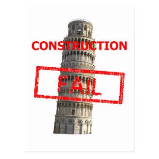 Pisa tower construction fail postcard