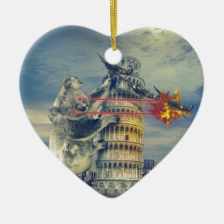 Pisa Tower Koala Bear Funny Ceramic Heart Ornament