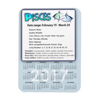 Pisces Astrological Horoscope 2017 Calendar Magnet