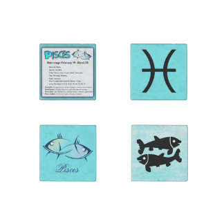 Pisces Astrological Horoscope Sign Magnets Set