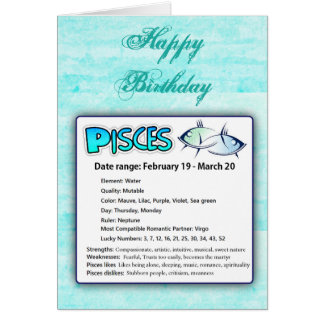 Pisces Astrological Horoscope Zodiac Birthday Card