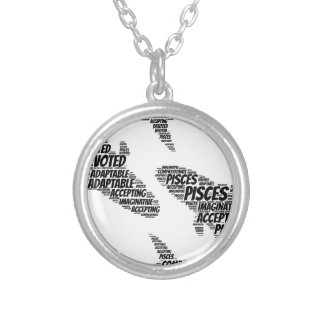 Pisces Astrology Zodiac Sign Word Cloud Silver Plated Necklace