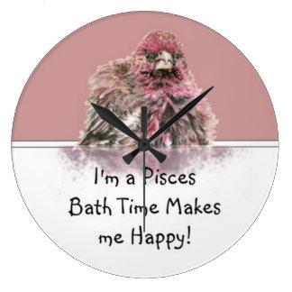 Pisces Bath Time Makes me Happy, Cute Bathing Bird Large Clock