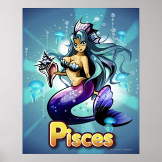 'Pisces' below anime mermaid Poster