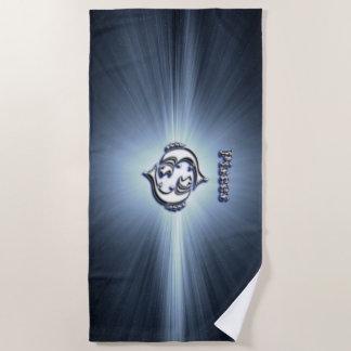 Pisces chrome symbol beach towel