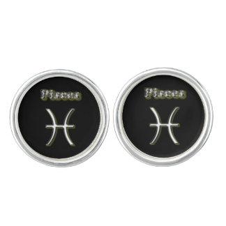 Pisces chrome symbol cufflinks