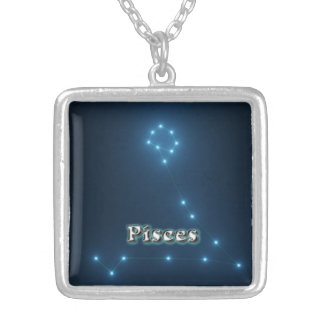 Pisces costellation silver plated necklace