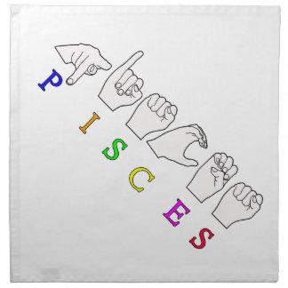 PISCES FINGERSPELLED ASL NAME ZODIAC SIGN NAPKIN