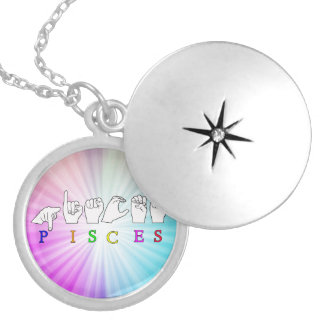 PISCES FINGERSPELLED ASL NAME ZODIAC SIGN SILVER PLATED NECKLACE