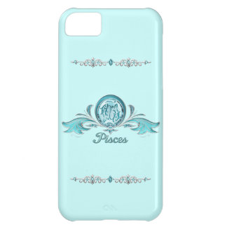 Pisces Fish Silver & Aquamarine Jewels Cover For iPhone 5C
