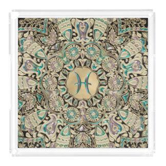 Pisces Gold Lace Mandala Acrylic Tray