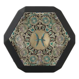 Pisces Gold Lace Mandala Black Bluetooth Speaker