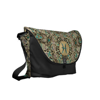 Pisces Gold Lace Mandala Courier Bags