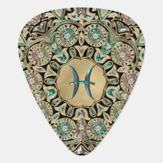 Pisces Gold Lace Mandala Guitar Pick