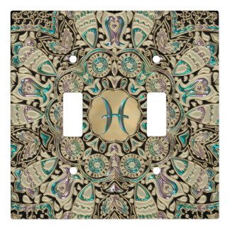Pisces Gold Lace Mandala Light Switch Cover