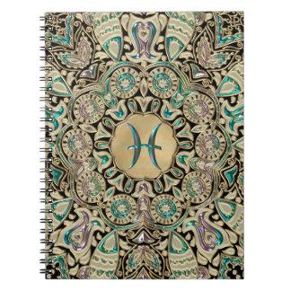 Pisces Gold Lace Mandala Notebooks
