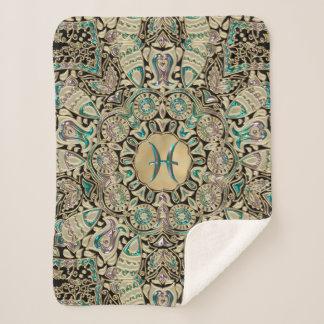 Pisces Gold Lace Mandala Sherpa Blanket