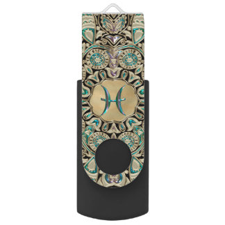 Pisces Gold Lace Mandala USB Flash Drive