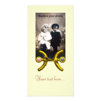 PISCES/ GOLD ZODIAC BIRTHDAY SIGN White Photo Greeting Card