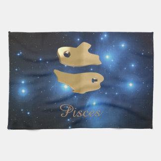 Pisces golden sign hand towels