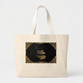 Pisces golden sign large tote bag