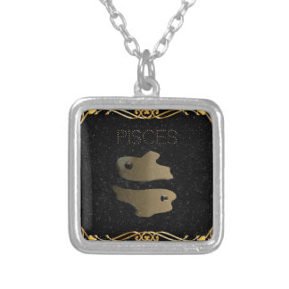 Pisces golden sign silver plated necklace