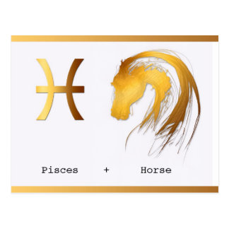 Pisces Horse Chinese Western Astrology birthday Postcard