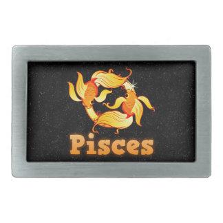 Pisces illustration belt buckles