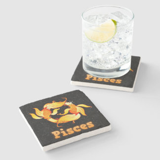 Pisces illustration stone coaster