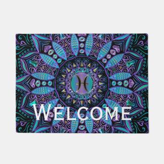 Pisces Mandala in Turquoise and Purple Doormat